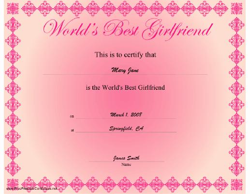 Best Boyfriend Certificate Template Beautiful Best Girlfriend Certificate Printable Certificate