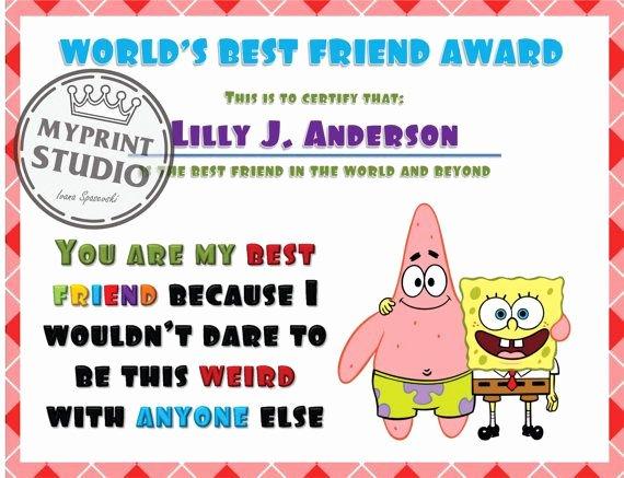 Best Boyfriend Certificate Template Best Of Spunge Bob Best Friend Award Template In Ms Word by