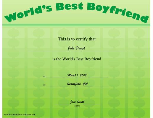 Best Boyfriend Certificate Template Elegant Best Boyfriend Certificate Printable Certificate