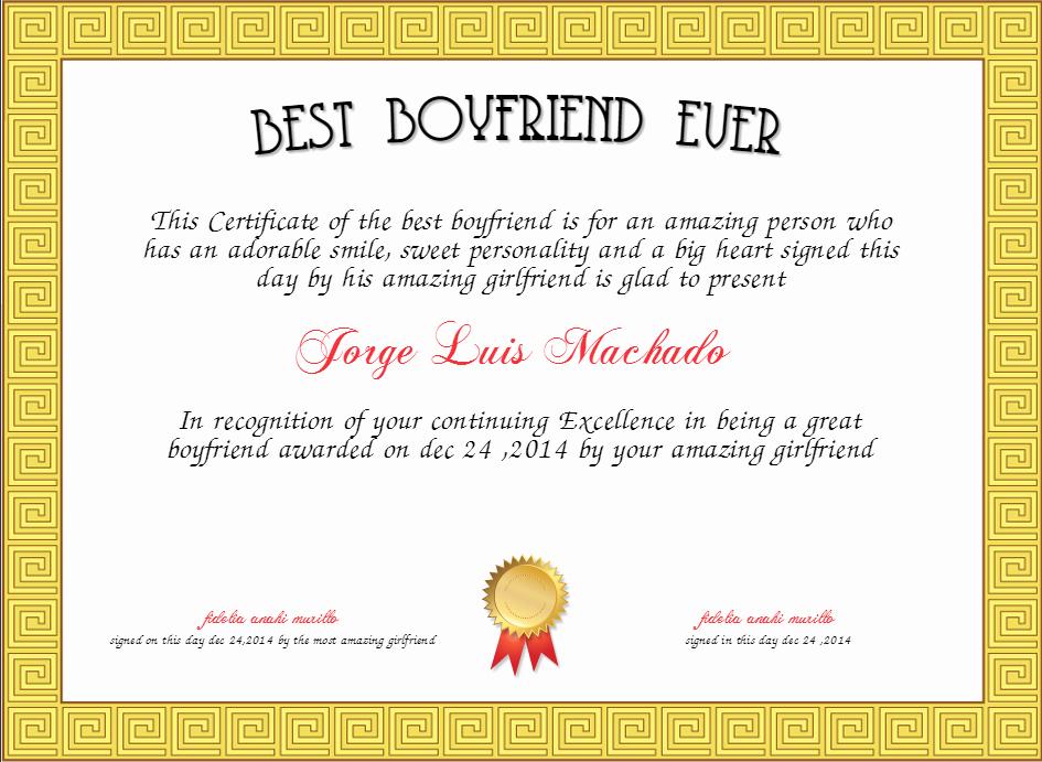 Best Boyfriend Certificate Template Elegant Best Boyfriend Ever Certificate