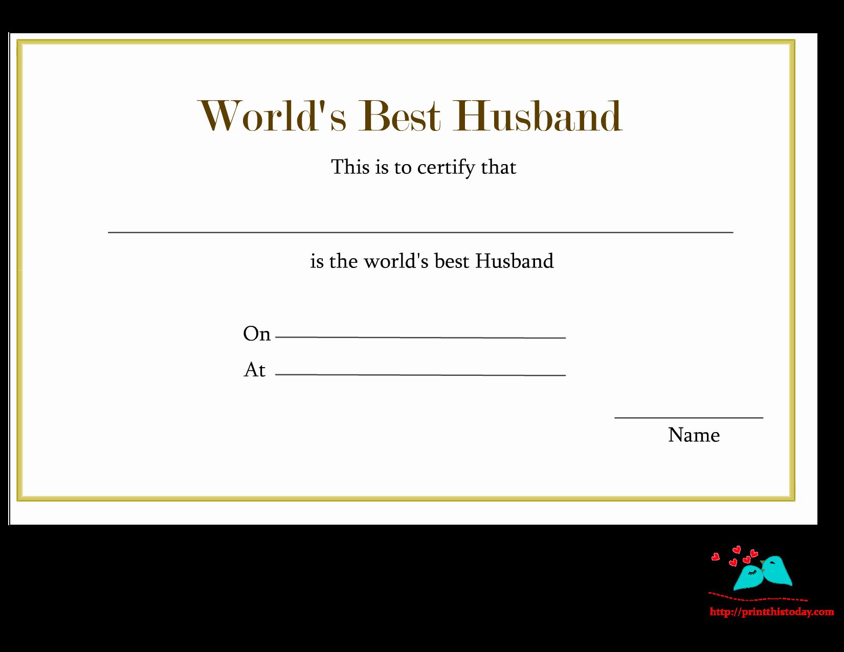 Best Boyfriend Certificate Template Fresh Free Printable World S Best Husband Certificates