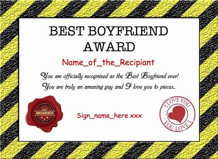 Best Boyfriend Certificate Template Inspirational 9 Best Awards Certificate Templates Images On Pinterest