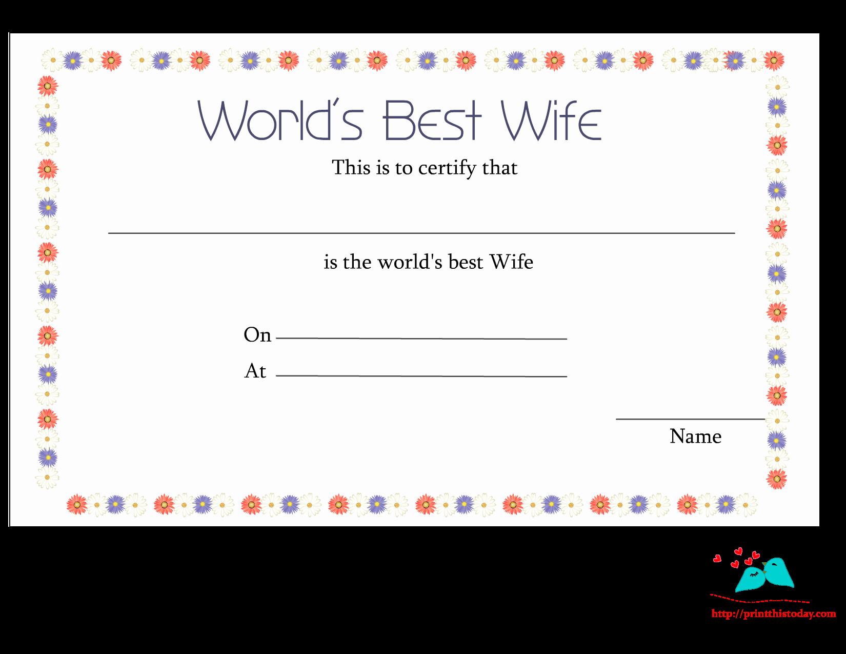 Best Boyfriend Certificate Template New Free Printable World S Best Wife Certificates