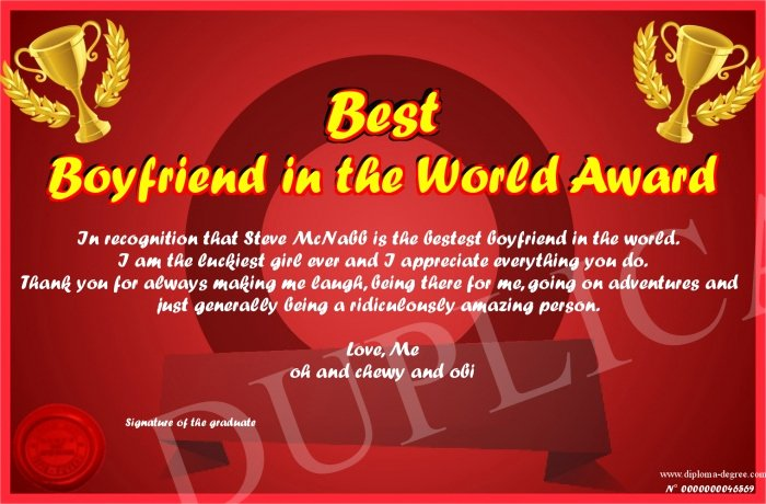 Best Boyfriend Ever Award Beautiful Best Boyfriend In the World Award