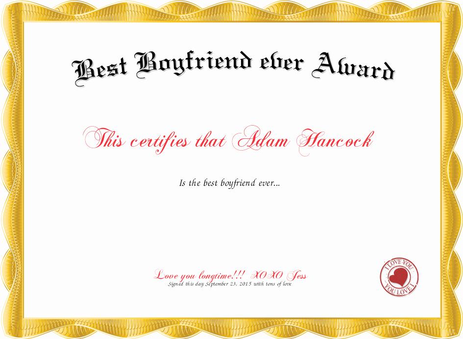 Best Boyfriend Ever Award Elegant Best Boyfriend Award
