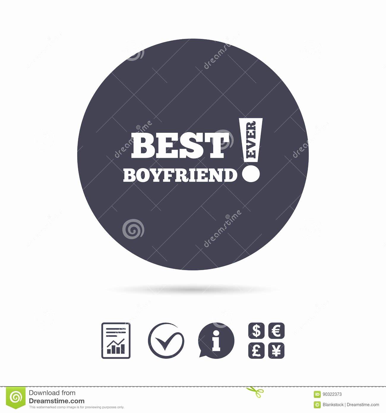 Best Boyfriend Ever Award Elegant Best Boyfriend Ever Sign Icon Award Symbol Stock Vector
