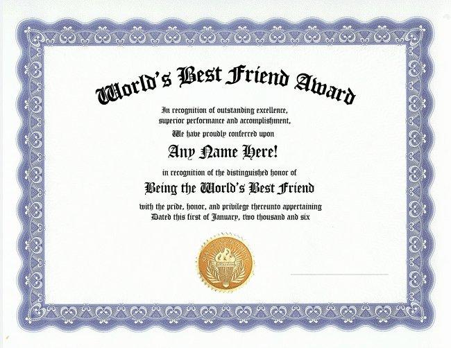 Best Boyfriend Ever Award Fresh Best Friend Award Certificate Friendship Custom Gift