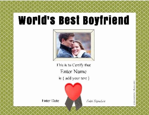 Best Boyfriend Ever Award Lovely Best Boyfriend Award Free Customization