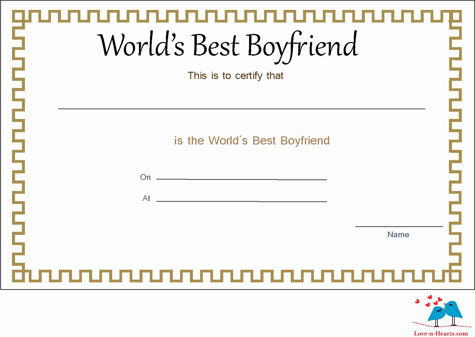 Best Boyfriend Ever Award New Free Printable World S Best Boyfriend Certificates