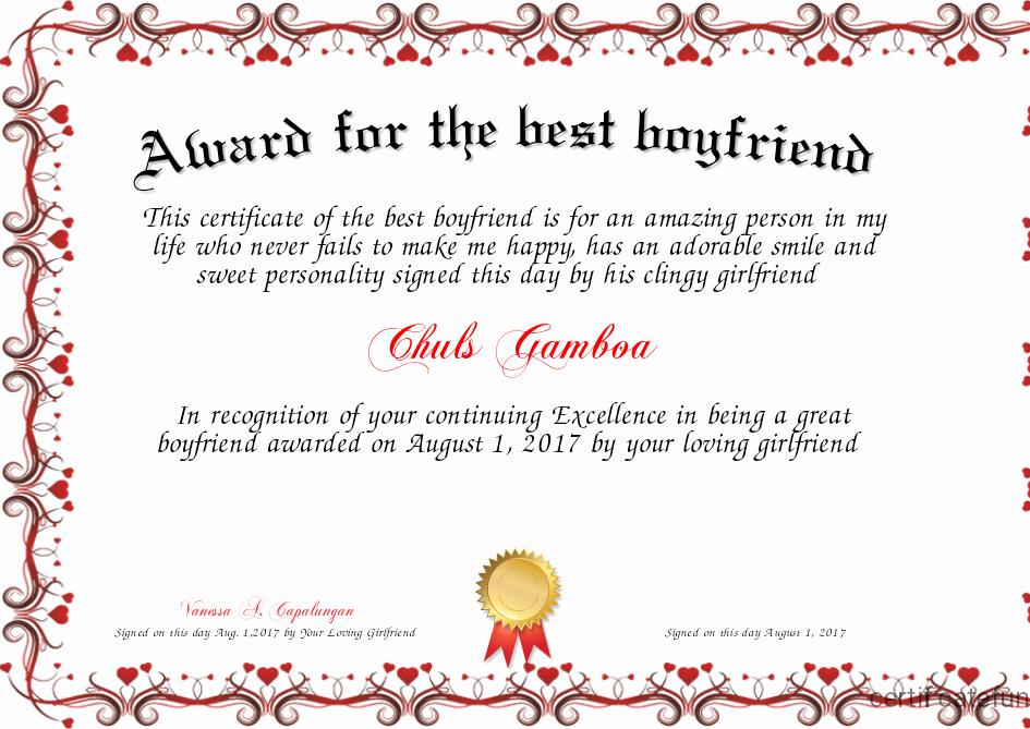 Best Boyfriend Ever Award Unique Award for the Best Boyfriend Certificate