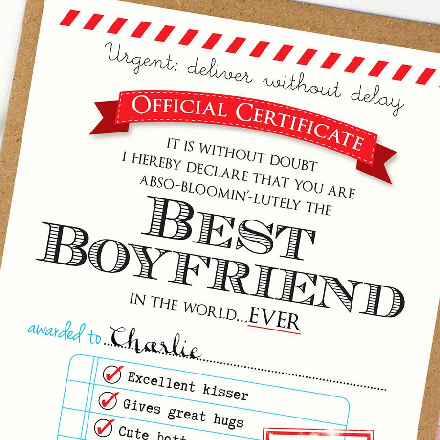 Best Boyfriend Of the Year Award New Personalised Best Boyfriend Certificate by Eskimo Kiss