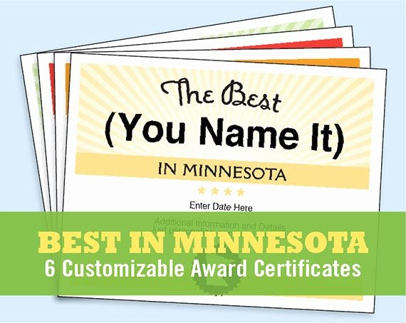 Best Brother Award Certificate Awesome the Best In Minnesota Customizable Award Certificates Kids