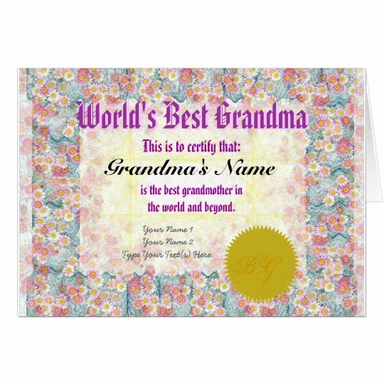 Best Brother Award Certificate Best Of Make A World S Best Grandma Award Certificate Card