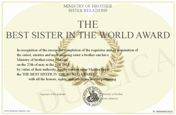 Best Brother Award Certificate Best Of the Best Sister In the World Award