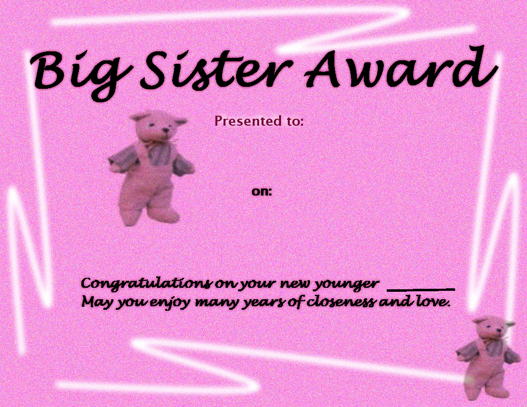 Best Brother Award Certificate Elegant 26 Of Big Sister Certificate Template