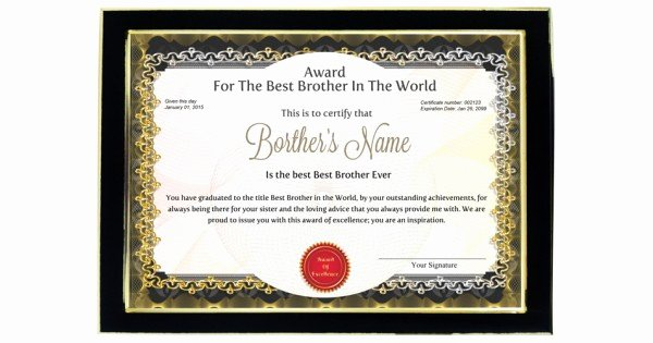 Best Brother Award Certificate Fresh Personalized Award Certificate for Worlds Best Brother