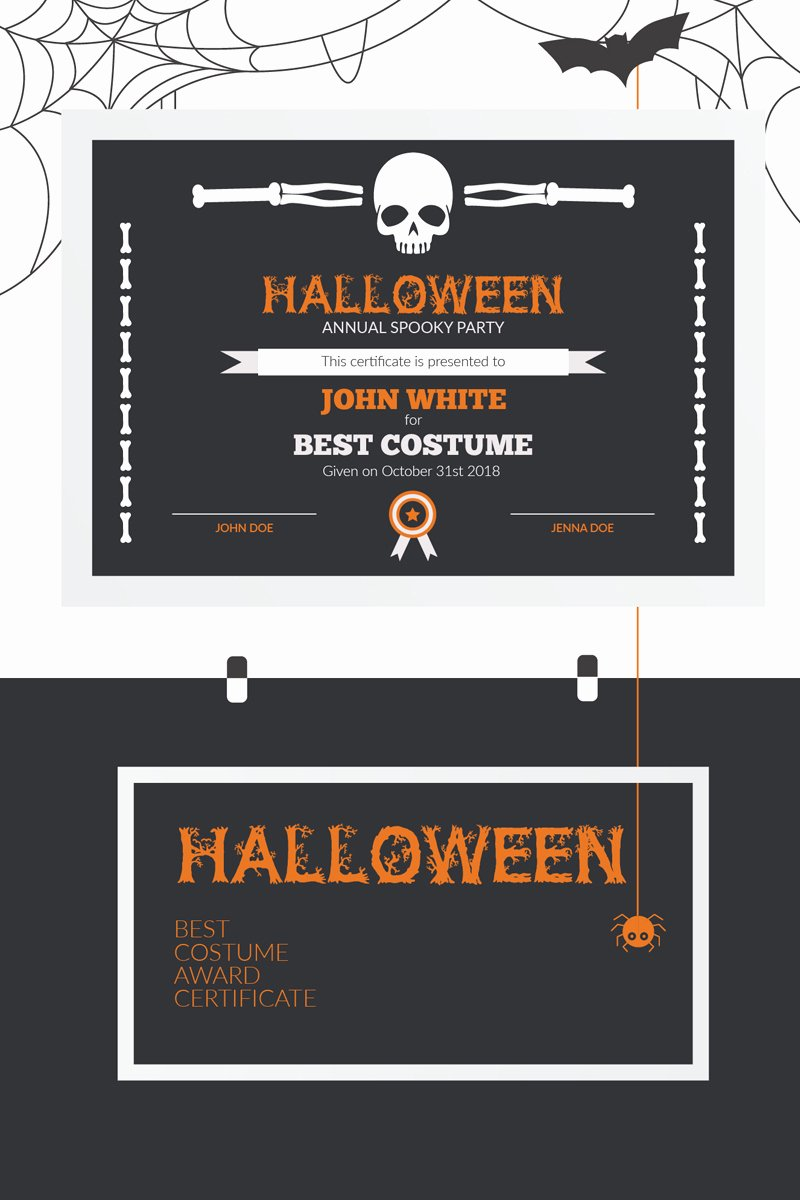 Best Costume Award Template Awesome Halloween Best Costume Award Certificate Template