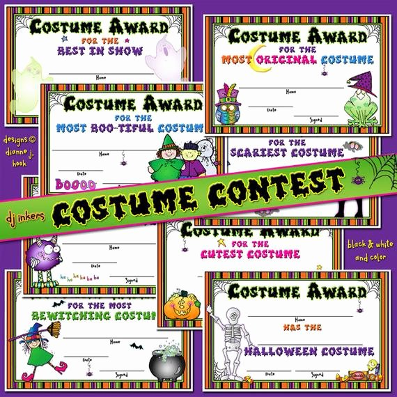 costume contest printable certificates