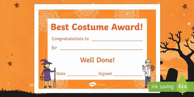 Best Costume Award Template Lovely 17 Best Images About Halloween On Pinterest