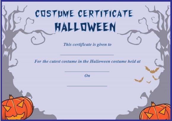 Best Costume Award Template New Cutest Halloween Costume Certificate Template In 2019