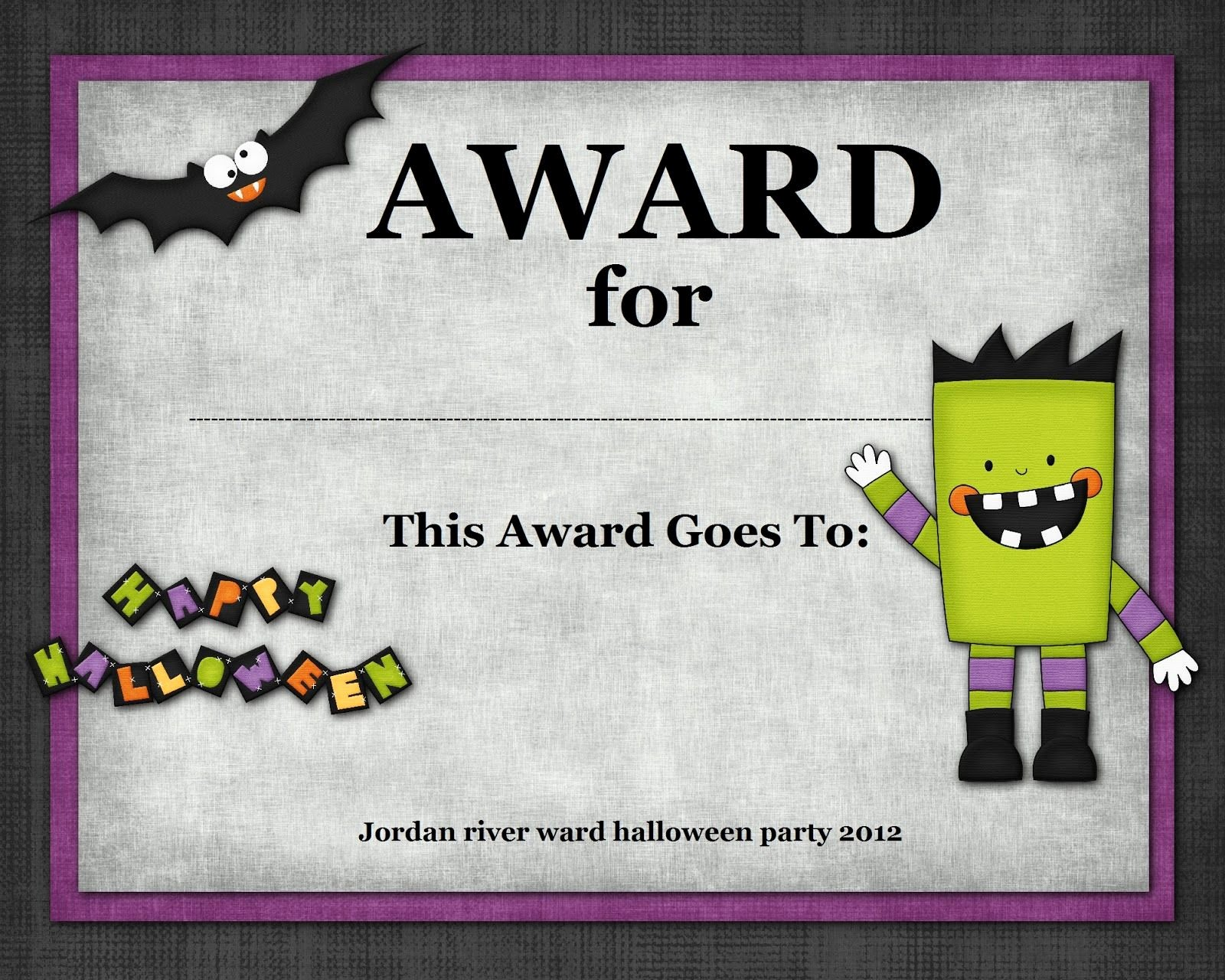 Best Costume Award Template New Halloween Costume Award Halloween