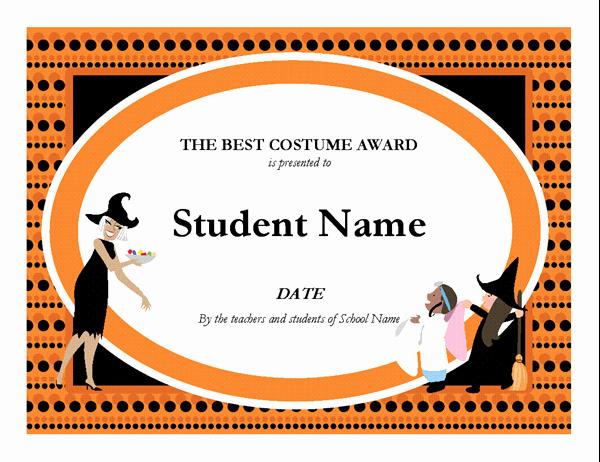 Best Costume Award Template Unique Certificates Fice