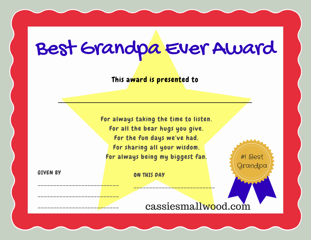 Best Dad Award Printable Awesome Best Grandpa Ever Certificate Appreciation Cassie