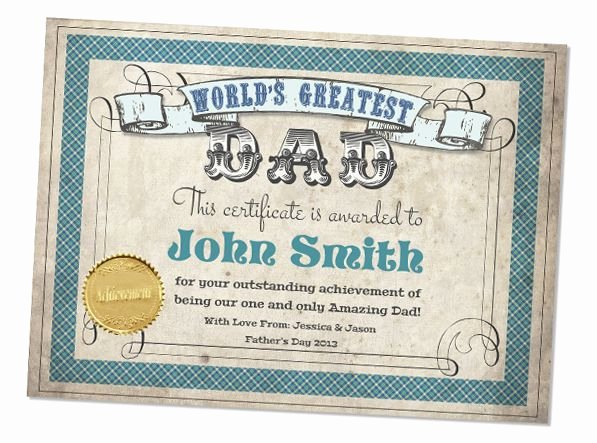 Best Dad Award Printable Awesome Fathers Day Worlds Greatest Dad Printable Certificate