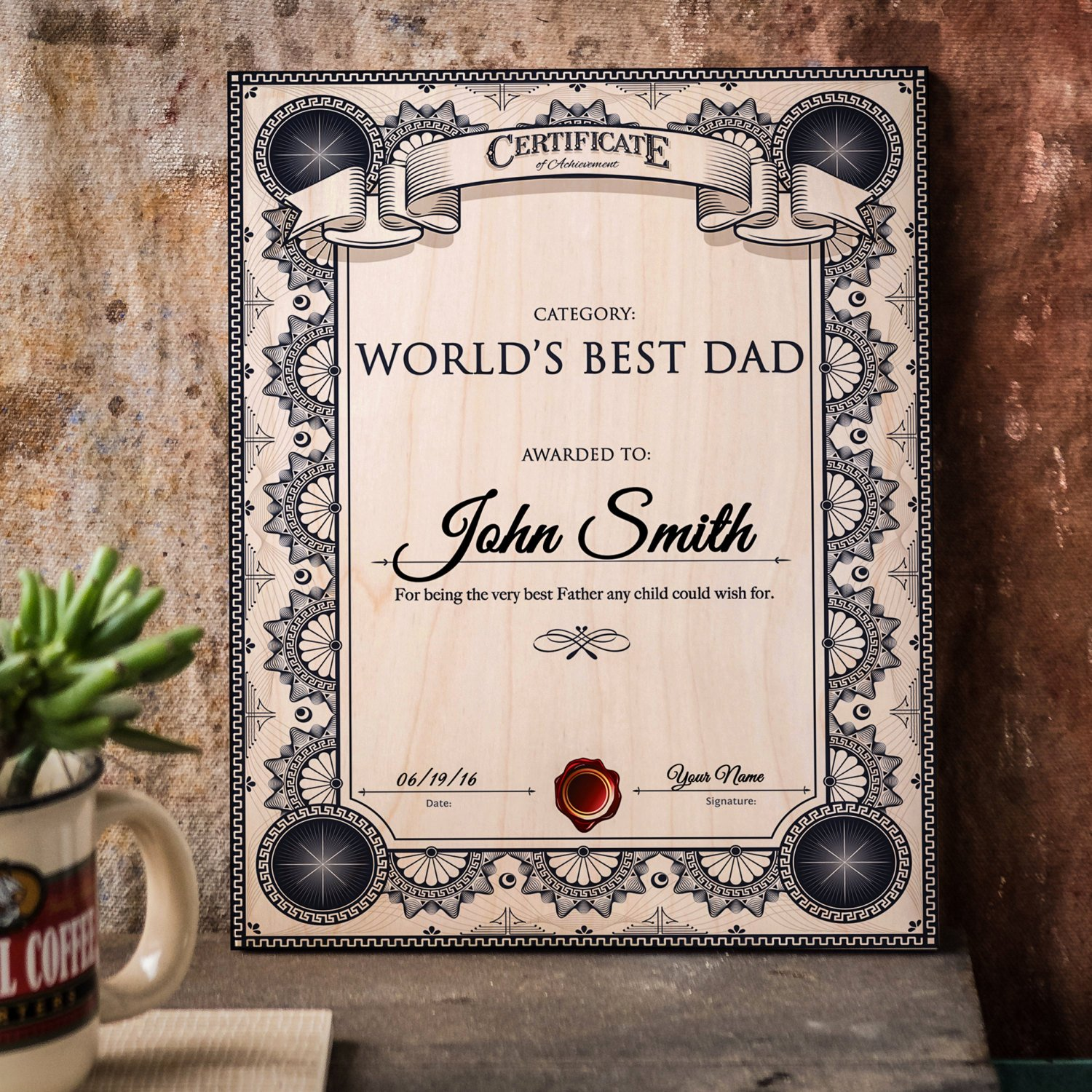 Best Dad Award Printable Beautiful Worlds Best Dad Award Certificate Print Wood by