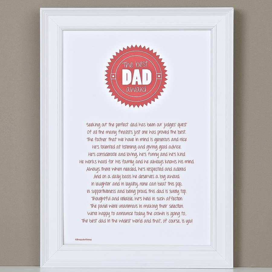 Best Dad Award Printable Elegant Best Dad Award Poem Print – Bespoke Verse