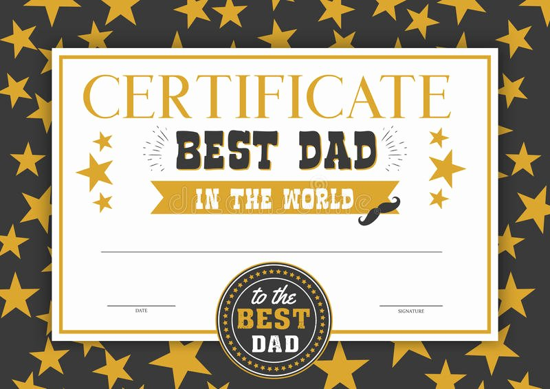 Best Dad Award Printable Fresh Best Dad In the World Certificate Stock Vector