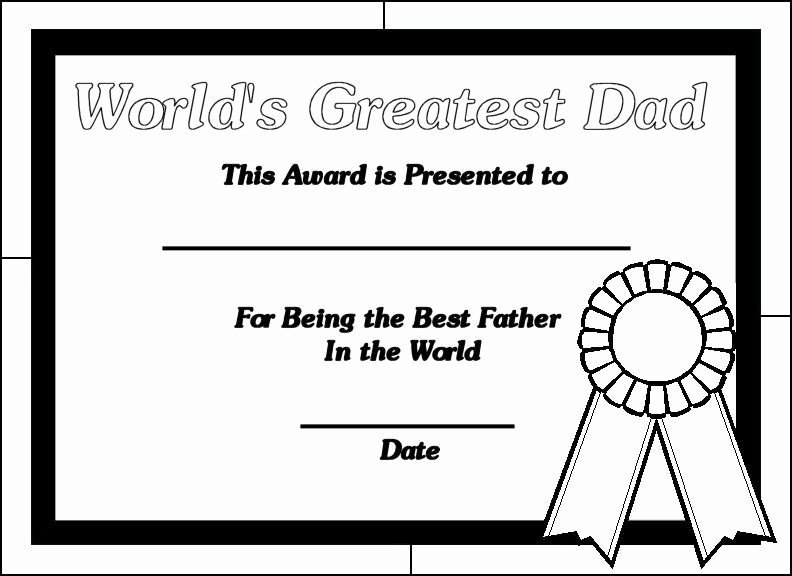 Best Dad Award Printable Fresh Printable Certificates for Dads