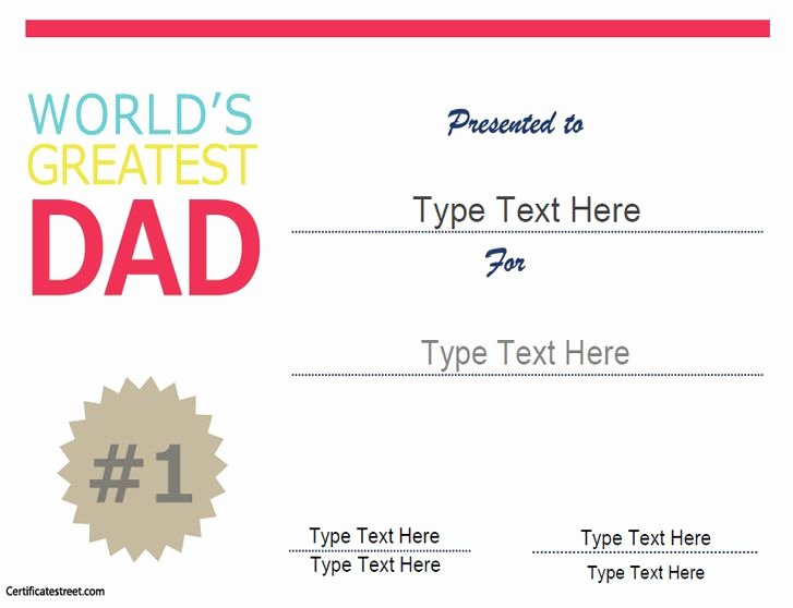Best Dad Award Printable Unique Special Certificate Worlds Greatest Dad Fathers Day