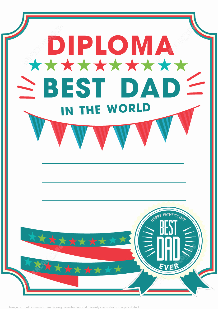 Best Dad Certificate Free Printable Awesome Best Dad Printable Diploma Certificate