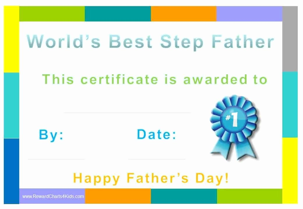 Best Dad Certificate Free Printable Awesome Best Step Dad Certificate