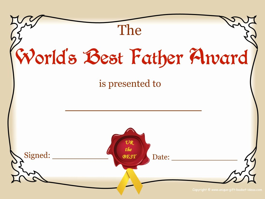 Best Dad Certificate Free Printable Beautiful Free Printable Certificates and Awards to Include In Your