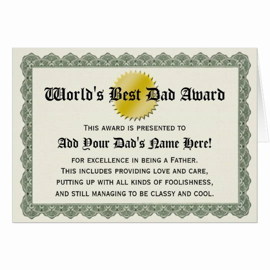 Best Dad Certificate Free Printable Best Of World S Best Dad Award Certificate Card