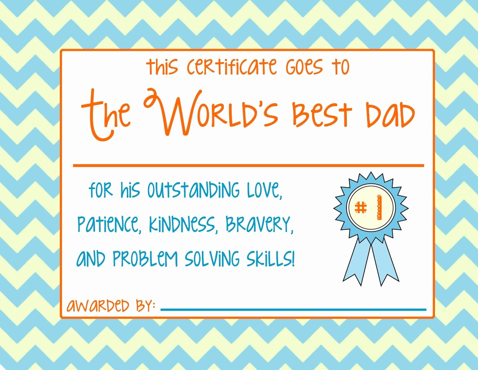 Best Dad Certificate Free Printable Best Of Worlds Best Dad S and for