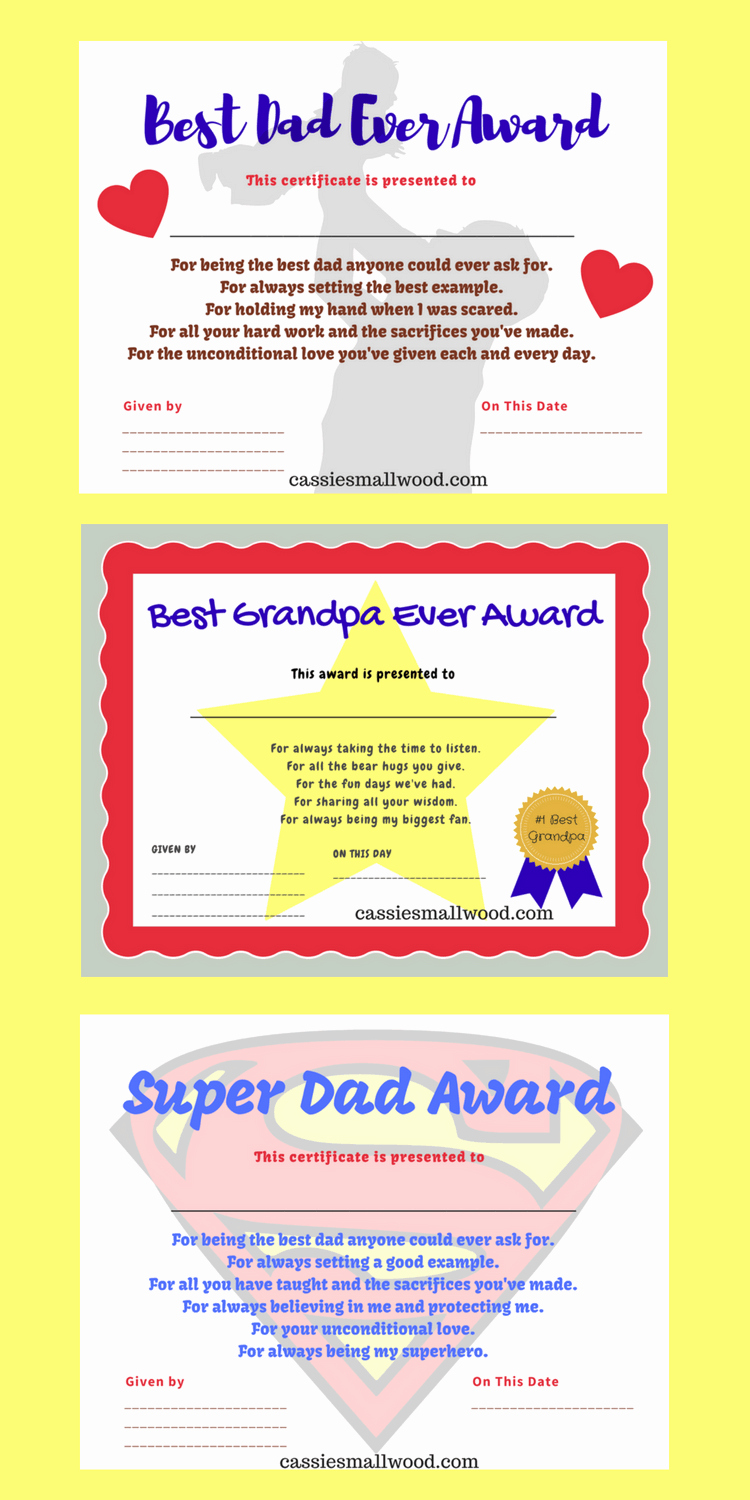 Best Dad Certificate Free Printable Inspirational Printable Father S Day Certificates Appreciation Gifts
