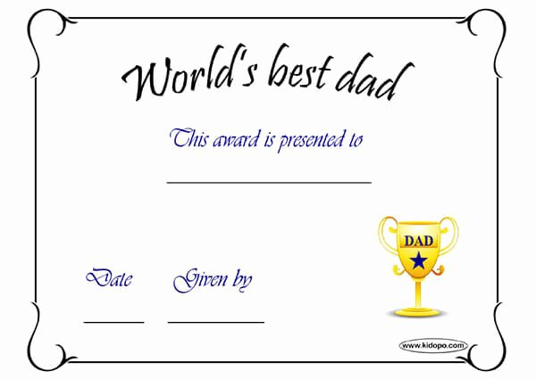Best Dad Certificate Free Printable Inspirational Printable Worlds Best Dad Award Certificate