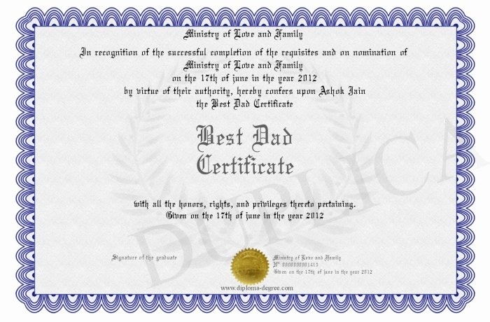 Best Dad Certificate Free Printable Luxury Best Dad Certificate