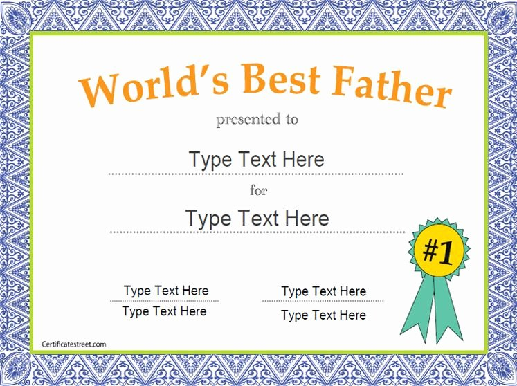 Best Dad Certificate Free Printable New Special Certificate Father S Day Certificate