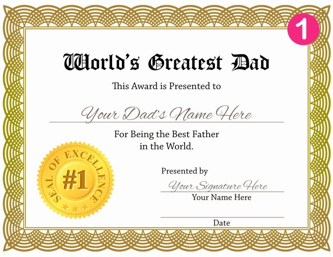 Best Dad Certificate Free Printable Unique Create A Personalized Worlds Greatest Dad Certificate for