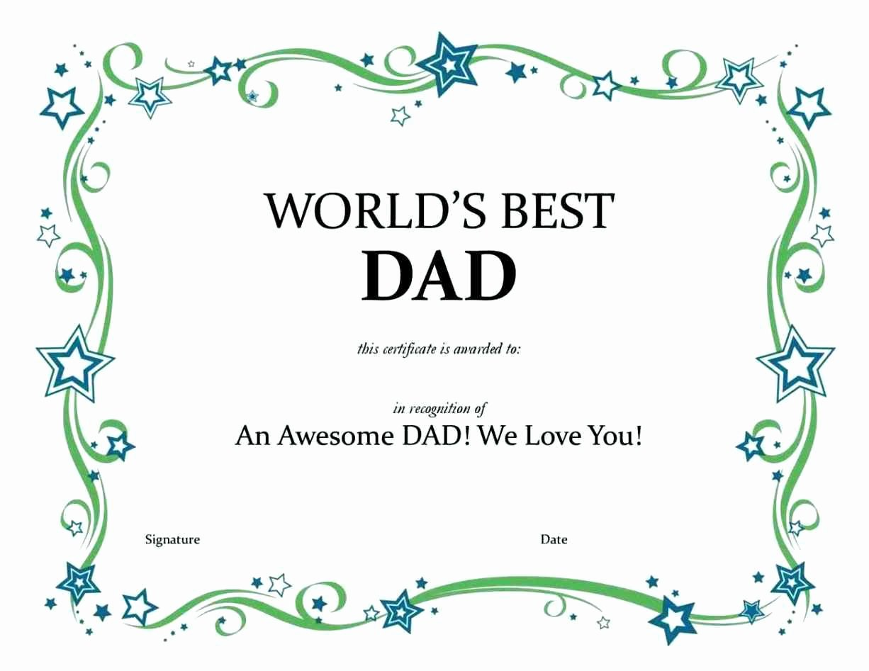 Best Dad Certificate Template Elegant Best Dad Certificate Template Update234 Template