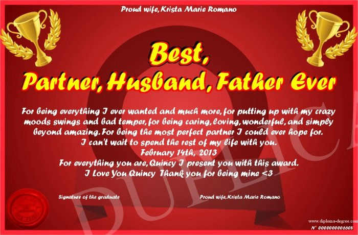 Best Dad Ever Certificate Awesome Best Partner Husband Father Ever