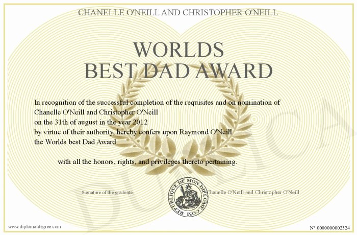 Best Dad Ever Certificate Awesome Worlds Best Dad Award