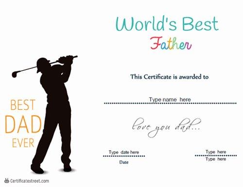 Best Dad Ever Certificate Elegant Special Certificates Best Dad Ever Certificate
