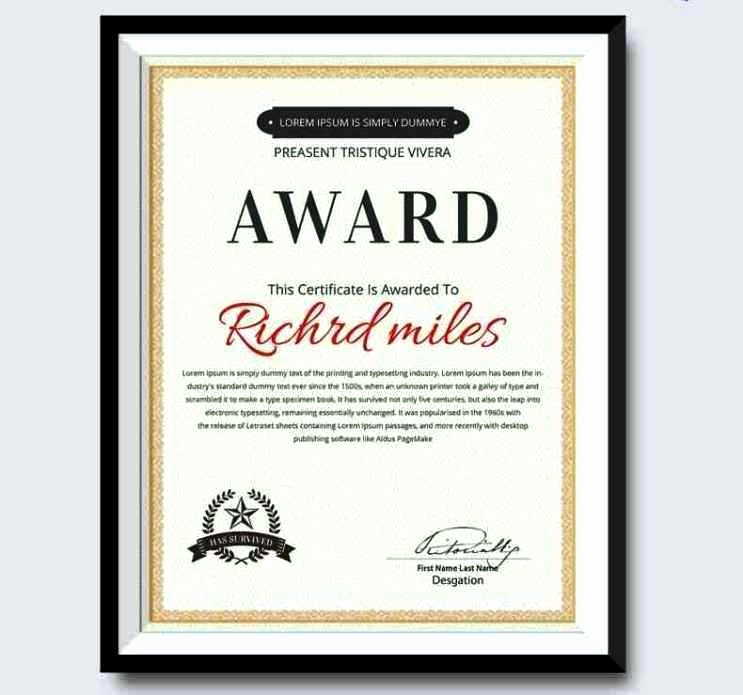 Best Dressed Award Certificate Beautiful Best Dressed Award Certificate Template Update234