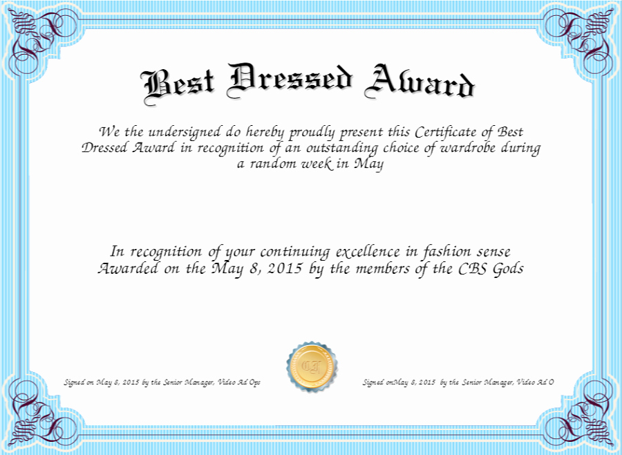 Best Dressed Award Certificate Beautiful Best Dressed Award Certificate to Print