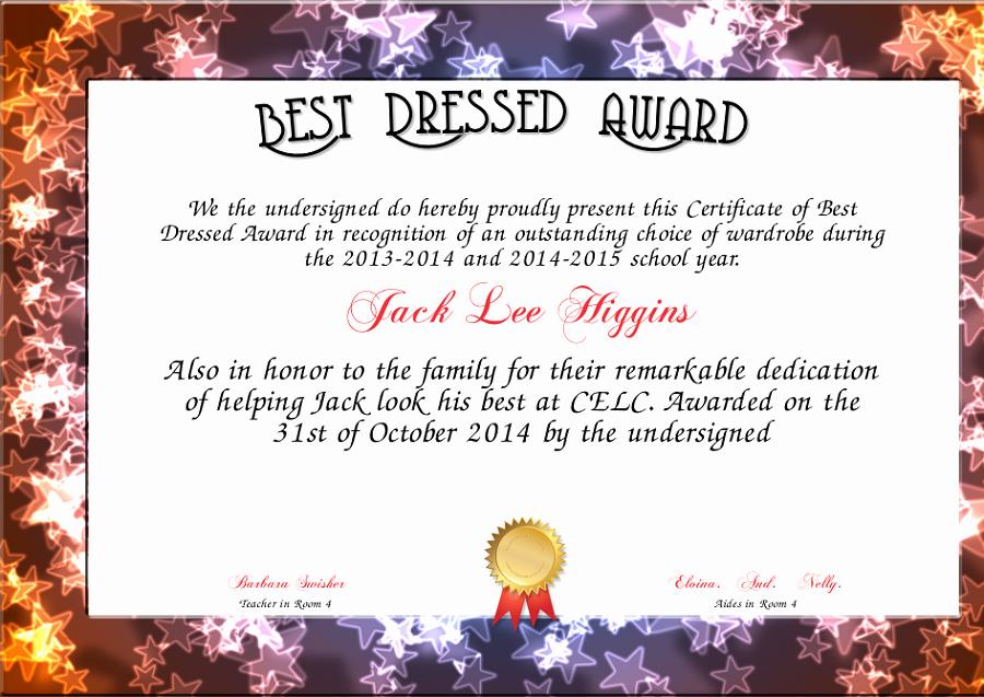 Best Dressed Award Certificate Best Of Best Dressed Award Certificate to Print